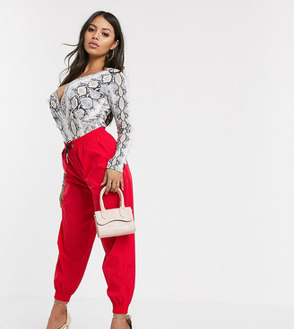 ASOS DESIGN Petite shell jogger in red