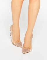 Steve Madden Pristinn Clear Two Part Embellished Pumps