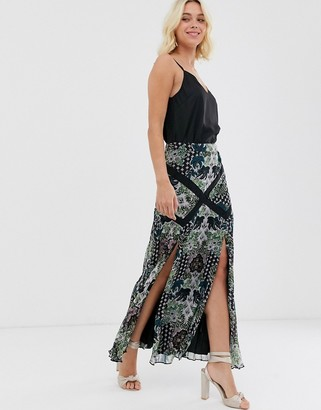 Asos Design DESIGN dark floral pleat maxi skirt with lace trim inserts