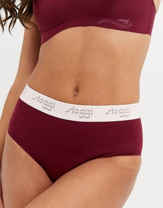 Sloggi The '79 logo cotton high waist brief in bordeaux-Purple