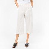 Paul Smith Women's Relaxed-Fit Cream Cotton Cropped Culottes