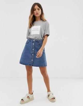 Noisy May button front denim skirt-Blue