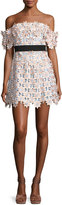 Self-Portrait Off-Shoulder 3-D Floral Mini Dress, Pink