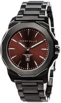 Perry Ellis Unisex Decagon Burgundy Stainless Steel Watch