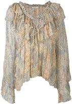 Mes Demoiselles palms print pleated blouse - women - Viscose - 40
