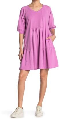 MelloDay V-Neck Puff Sleeve Babydoll Dress