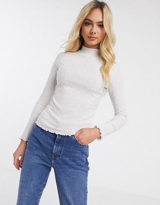 New Look ribbed turtle neck in oatmeal-Cream