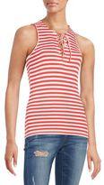 Saks Fifth Avenue RED Striped Rib-Knit Tank Top