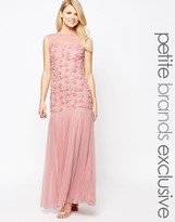 John Zack Petite Maxi Dress With 3D Floral Bodice And Tulle Skirt