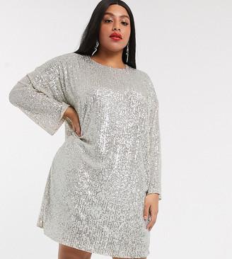ASOS DESIGN Curve sequin long sleeved mini dress