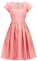Dolce & Gabbana Square-neck Slubbed-silk Shantung Midi Dress - Womens - Pink