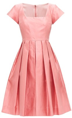 Dolce & Gabbana Square-neck Slubbed-silk Shantung Midi Dress - Pink