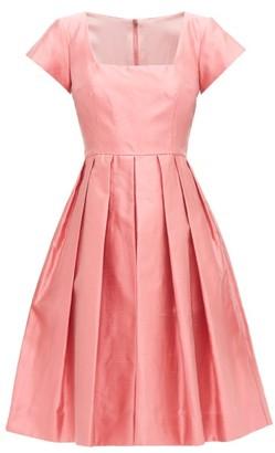 Dolce & Gabbana Square-neck Slubbed-silk Shantung Midi Dress - Womens - Pink