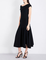 Alexander McQueen Asymmetric-panel flared wool-blend dress
