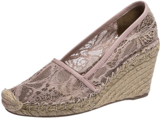 Valentino Light Pink Floral Lace Espadrille Wedge Pumps Size 36