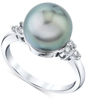 Macy's Cultured Tahitian Pearl (10mm) & Diamond (1/6 ct. t.w.) Ring in 14k White Gold
