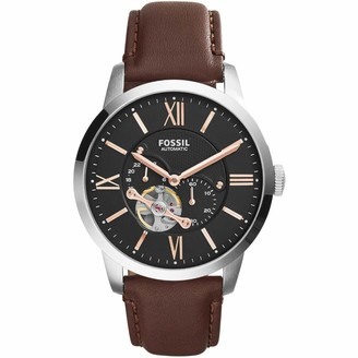 Fossil Men's Analog Automatic Watch with Leather Strap ME3061