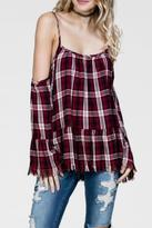 En Creme Plaid Cold Shoulder