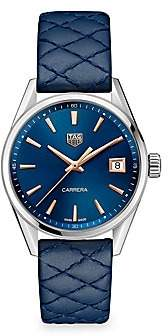 Tag Heuer Women's Carrera 36MM Stainless Steel, Rose Gold & Blue Quilted Leather Strap Quartz Watch
