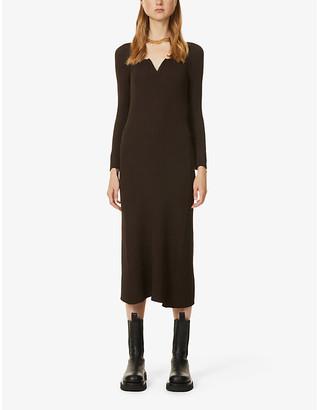 BEVZA Sweetheart-neck ribbed woven maxi dress