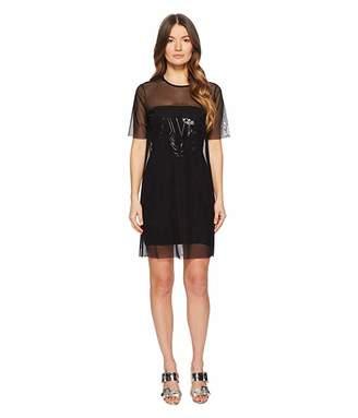 Versace Sheer Overlay Short Sleeve Dress