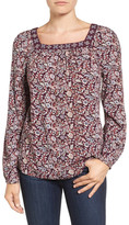 Caslon Embroidered Print Top (Petite)