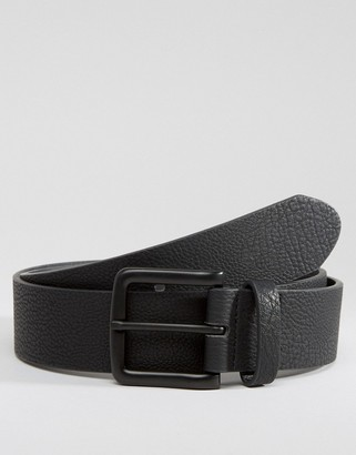 ASOS DESIGN wide belt in black faux leather with coated buckle