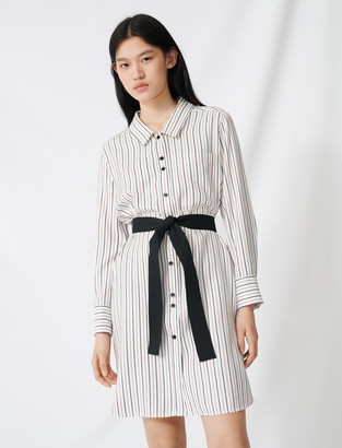 Maje Belted pinstriped shirt dress