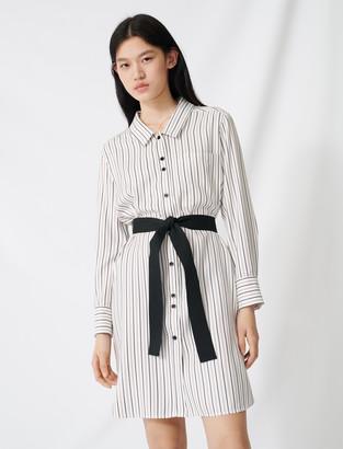 Maje Belted pinstriped shirt dress