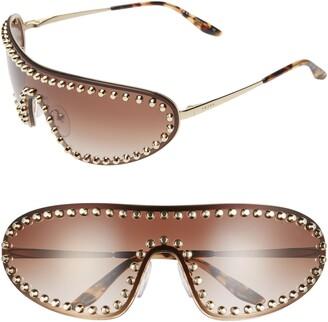 Prada 170mm Studded Gradient Wraparound Shield Sunglasses
