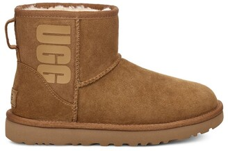 UGG Classic Mini Leather Ankle Boots with Rubber Logo
