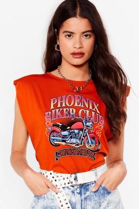 Nasty Gal Womens Phoenix Biker Club Padded Graphic Tee - Orange - 4