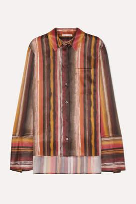 BITE Studios - Striped Organic Silk Shirt - Brown