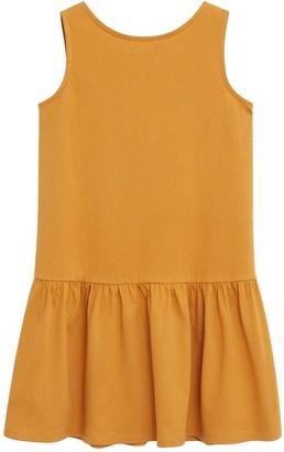 MANGO Girls Jungle Jersey Sleeveless Dress - Mustard
