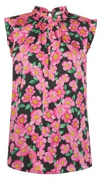Dorothy Perkins Womens Billie & Blossom Tall Pink Floral Print Ruffle Shell Top, Pink