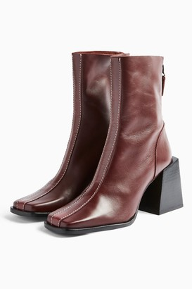 Topshop Womens Hades Leather Red Boots - Red