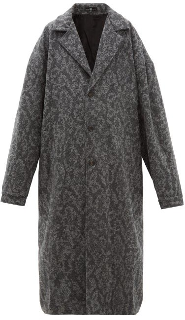 Edward Crutchley Patterned Mohair Coat - Grey