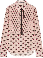 Markus Lupfer Flying Bumble Printed Silk Crepe De Chine Blouse - Blush
