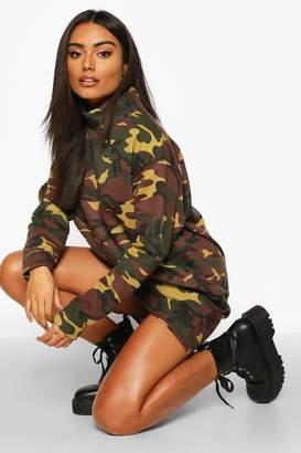 boohoo Camo High Neck Sweatshirt Dress