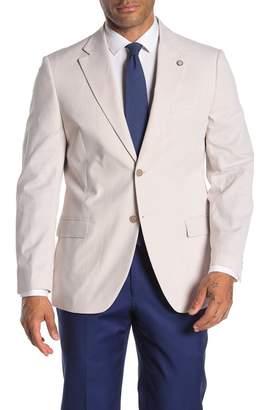 Nautica Brielle Tan & White Stripe Two Button Notch Lapel Tailored Fit Jacket