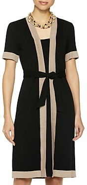 Misook Contrast Trim Belted Dress