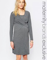 Mama Licious Mama.licious Mamalicious Long Sleeve Jersey Dress With Ruched Front