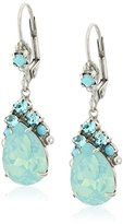 "Sorrelli Teal Textile"" Crystal Teardrop and Cluster French Wire Drop Earrings"