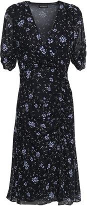 Nicholas Wrap-effect Ruched Floral-print Silk-georgette Dress