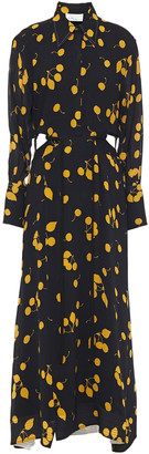 3.1 Phillip Lim Cutout Printed Crepe Maxi Shirt Dress