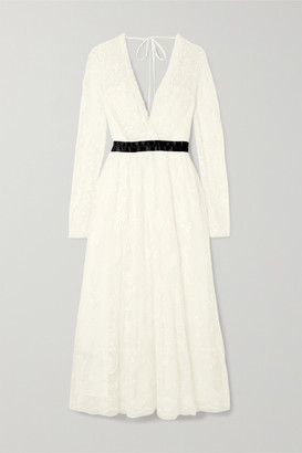 Needle & Thread Eleanor Wrap-effect Satin-trimmed Lace Midi Dress - White