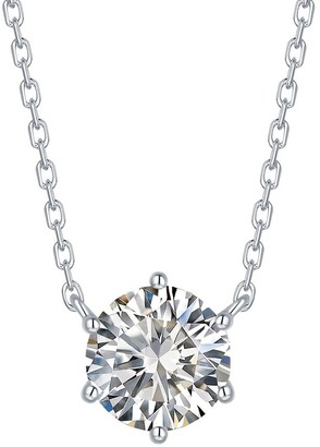 Lab Grown Diamond Solitaire Necklace, 3/4 Ctw 10K White Gold by Smiling Rocks