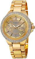 Akribos XXIV Womens Gold Dial Gold-Tone Bracelet Watch