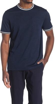 Michael Kors Stripe Trim Slub Knit T-Shirt