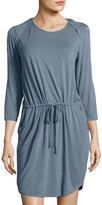 LAmade Peekaboo-Sleeves Shirtdress, Gray